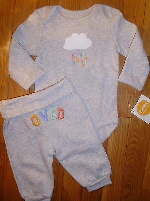 6 9 12 18 M Gymboree LOVED Clouds Bodysuit Pants Baby Boy Girl New Outfit NWT