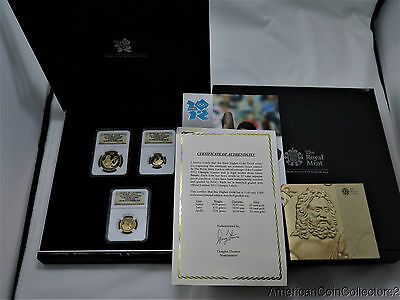2012 LONDON Olympic Gold 3 Coin Higher Gold Proof Set NGC PF 69 Ultra Cameo|7627