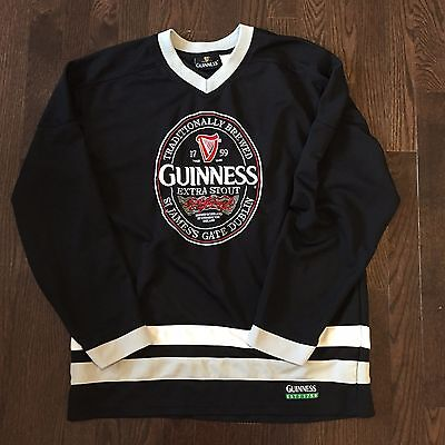 Guinness Extra Stout Ice Hockey Jersey Mens Size M Sewn