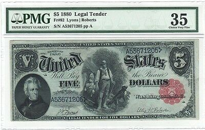 "1880 $5 LEGAL TENDER Fr.#82 ""the WOOD-CHOPPER"", PMG 35 CHOICE VERY FINE"