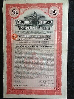 Bulgaria 7 1/2% stabilisation loan 1928 £100 bond certificate