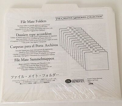 Creative Memories File Mate 13 Folders Center Tabs White