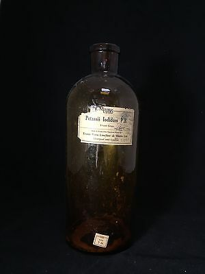 Antique HUGE Apothecary Chemists Glass Bottle With Paper Label Victorian Doctor