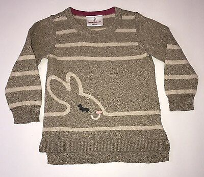 Hanna Andersson Sz 80 2 Heads and Tails Sweater Pecan Brown Tan Bunny Rabbit