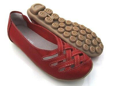 Womens LEATHER COMFORT Ballet Flats Nodule Ladies Red Walk Work Lattice SHOES