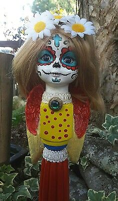 OOAK Day of the Dead Doll sculpture totem pole