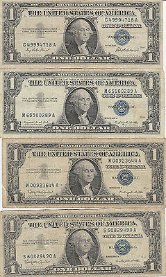 1957 A one dollar silver certificate ( lot of 14 notes )