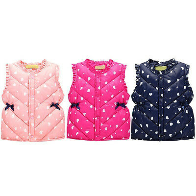 Toddler Kids Girls Clothes Winter Sleeveless Jacket Vest Casual Waistcoat Coat