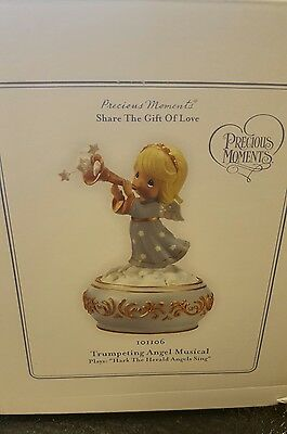 Precious Moments.. Trumpeting Angel Musical.. New In Box