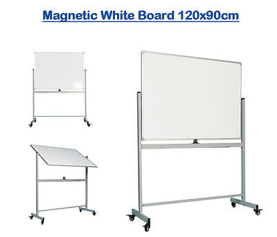 Mobile 120x90cm Magnetic White Board Stand Double Sided Dry Erase Whiteboard