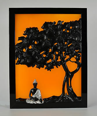 Buddha under the Bohdi Tree 3d wax painting led light box lamp framed candle art