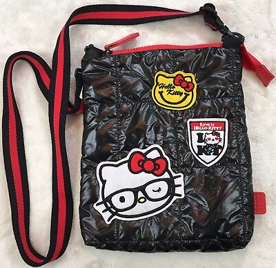 New Sanrio Original Hello Kitty Quilted Black Cross Body Bag Patches Red Strap
