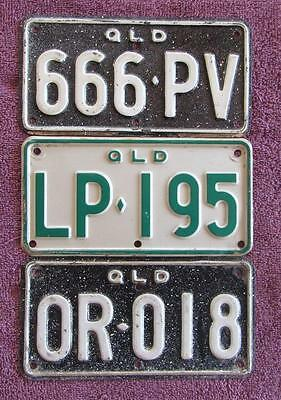 QLD MOTORCYCLE x 3  LICENSE NUMBER PLATES