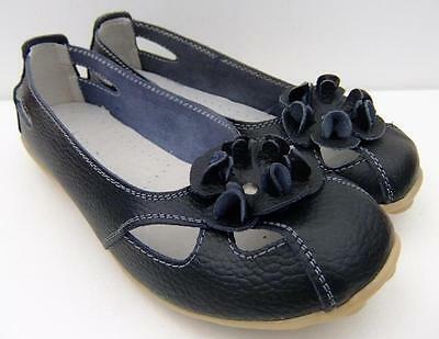 Casual Black FULL LEATHER Ladies COMFORT Ballet Flats Auyi Nodule Walk SHOES