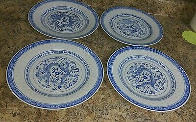 """(4) Antique Chinese Porcelain Blue and White Dragon plate 10"""""""