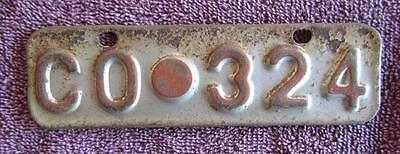 Collie Shire Wa Bicycle  I License Number Plate # Co.324