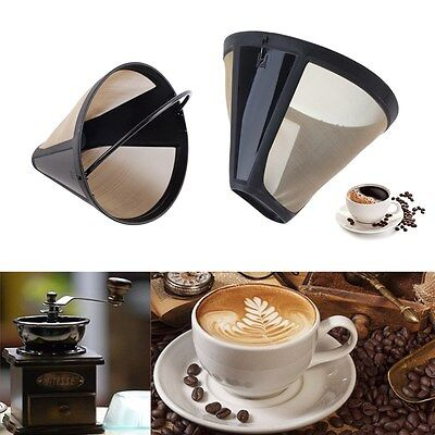 1pcs Reusable Coffee Filter Permanent Cone-Style Gold Mesh With Handle Cafe Tool
