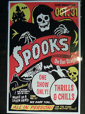 50s SPOOK SHOW EVENT POSTER 11X17 ART Halloween Horror Monsters Grim Reaper