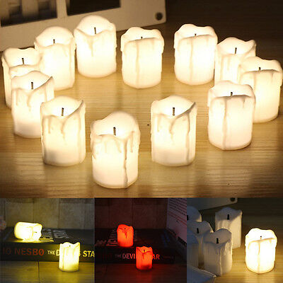 12PCS LED Flameless Candle Tealight Flickering Battery Operated Wedding Party