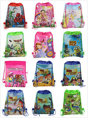 Boys Girls Drawstring PE Gym Toy Beach Party Bag Avengers Minions Peppa Frozen