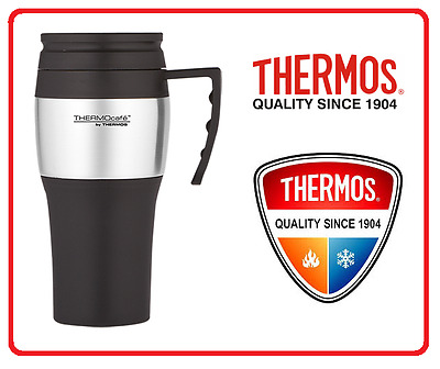 ❤ THERMOS THERMOCAFE 400ml TRAVEL MUG Insulated Cup Coffee Tea BLACK + SILVER ❤