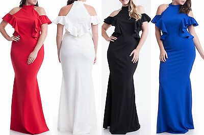 PLUS SIZE RUFFLE Cut Out Cold Shoulder Mermaid Maxi Dress Hourglass ...