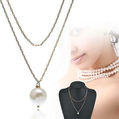 Women Charm Pearl Choker Chunky Statement Necklace Jewelry Chain Pendant Gold #H