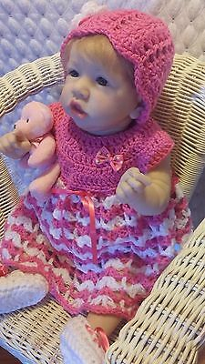 New Hand Made Crochet Reborn Doll Dress Set ~ Pink & White Dress Bonnet  Booties