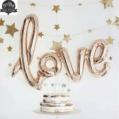 Love Script Balloon Rose Gold 80cm - Engagement Wedding Birthday Party