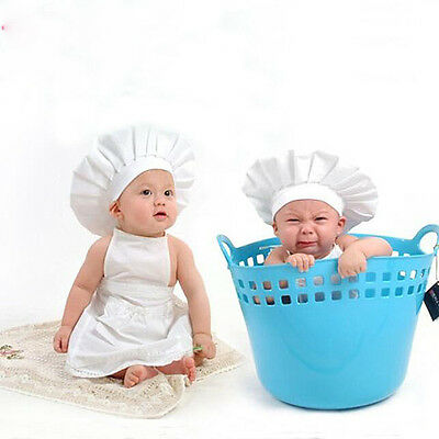 Cute Baby White Cook Cheff Hat & Apron Child Costume Photos Prop for 0~12 Months