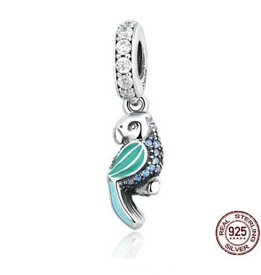 S925 Tropical Parrot Silver Turquoise EURO Charm Pandora's Box Inc.