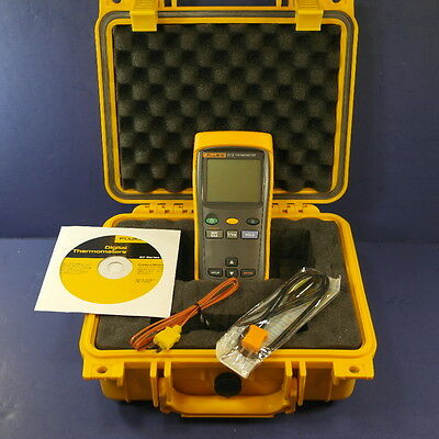 New Fluke 51 II Thermometer, Hard Case, Probes, CD, See Details