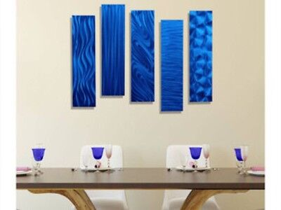 Metal Abstract Modern Painting Wall Art Decor - 5 Easy Pieces Blue by Jon Allen