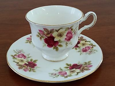 Queen Anne Bone China Made in England PINK ROSES Cup & Cake Sandwich Plate Only