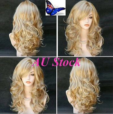 AU STOCK! Women Ladies Blonde Long Wavy Party Cosplay Natural Full Hair Wig Hot