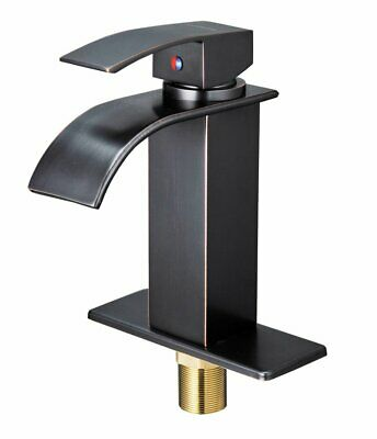 Oil Rubbed Bronze Bathroom Basin Faucet Waterfall Spout Sink Mixer Tap +6''Cover