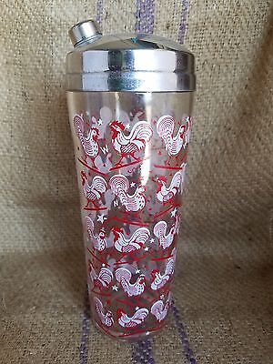 Vintage Cocktail Shaker with a Red & White Weathervane Roosters Pattern w/Cover