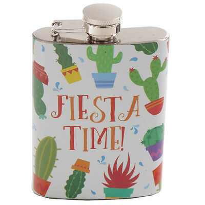 Fun Cactus Stainless Steel Hip Flask - 4oz - Drinks Travel Pocket Gift Boxed