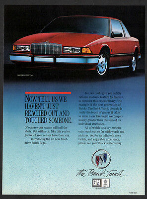1988 BUICK Regal Vintage Original Print AD - Red car photo, the Buick touch