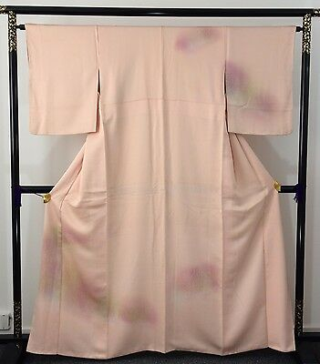 Authentic Japanese pink silk kimono for women, trees, M, long (AB1627)