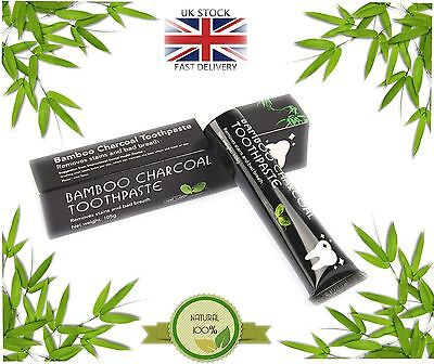 Charcoal Teeth Whitening Natural Toothpaste Black Active Bamboo Polish Mint UK