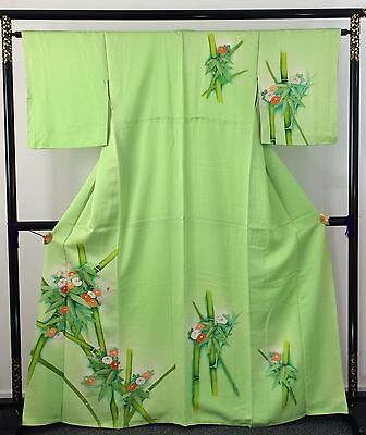 Authentic Japanese green silk kimono for women, bamboo, M, long, good c.(AB1628)