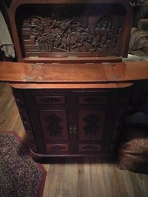 Antique Chinese Lacquered Carved Wood Bar,cabinet