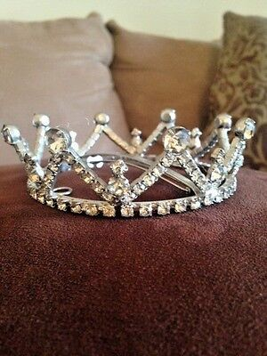 Vintage Rhinestone Tiara FULL Crown with Pageant Bridal Prom LAST CALL