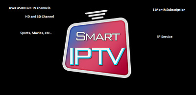 1 MONTH IPTV Subscription 4500+ TV channels+VOD MAG Smart IPTV UK IT DE IN SP FR