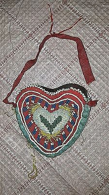 "Antique Beaded Pouch Heart Shaped 4"" X 3 3/4"" Found In Upstate Ny 1800's Near Al"