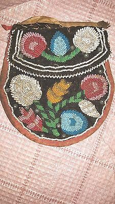 """Antique Beadwork Pouch 6"""" X 5"""" Northeast Usa Found In Ny State"""