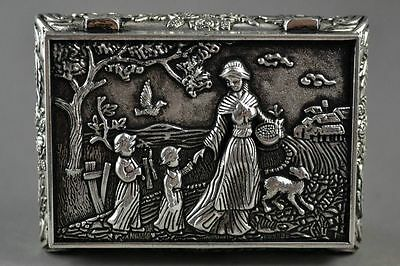 Chinese Miao Silver Carving Village Flower Mother And Child Good Lucky Jewel Box