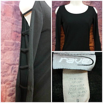 Rave Women's Small Black Knit Shirt Top Long Sleeve Cut Out Club Dance Party