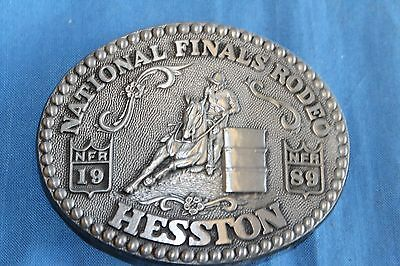 Vintage HESSTON NFR 1989 Belt Buckle NATIONAL FINALS RODEO Cowboy Western B